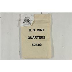 US MINT SEALED $25 BAG OF 2005-P KANSAS QUARTERS