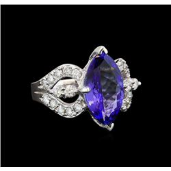 14KT White Gold 5.37 ctw Tanzanite and Diamond Ring