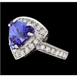 4.50 ctw Tanzanite and Diamond Ring - 14KT White Gold