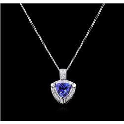 3.02 Tanzanite and Diamond Pendant - 14KT White Gold