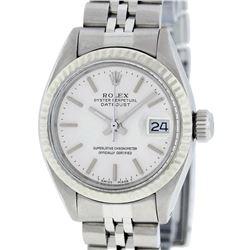 Rolex Ladies Quickset SS Silver Index Fluted Bezel Jubilee Band Datejust Wristwa
