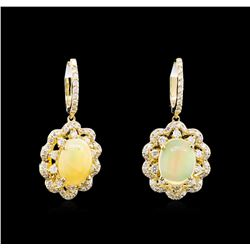2.78 ctw Opal and Diamond Earrings - 14KT Yellow Gold
