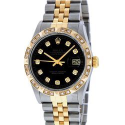 Rolex Mens Two Tone Black Diamond Pyramid Bezel Datejust Wristwatch