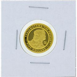 2002 $5 The Sovereign Nation of the Shawnee Tribe Gold Proof Coin