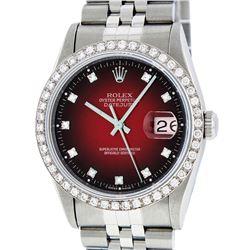 Rolex Mens Stainless Steel Red Vignette Diamond Datejust Wristwatch