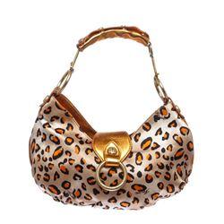 Cesare Paciotti Orange Metallic Leather Leopard Print Small Shoulder Handbag