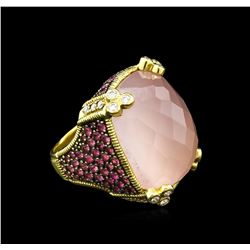 30.62 ctw Rose Quartz, Pink Sapphire and Diamond Ring - 18KT Yellow Gold