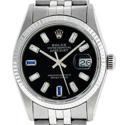 Rolex Mens 36mm Stainless Steel Black Diamond And Sapphire Datejust Wristwatch
