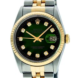 Rolex Mens 36mm Two Tone Yellow Gold Green Vignette Diamond DateJust Wristwatch
