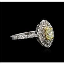 1.15 ctw Yellow Diamond Ring - 14KT White Gold