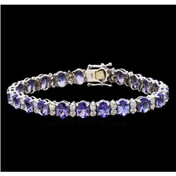 15.66 ctw Tanzanite and Diamond Bracelet - 14KT White Gold