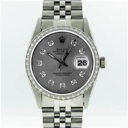 Rolex Mens Stainless Steel Slate Grey Diamond Datejust Wristwatch
