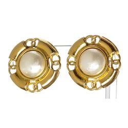 Chanel Gold Faux Pearl Clip On Earrings