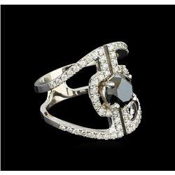2.28 ctw Black Diamond Ring - 14KT White Gold
