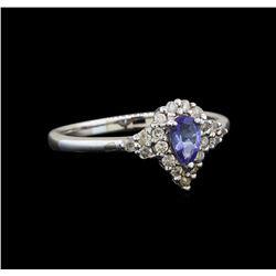 14KT White Gold 0.35 ctw Tanzanite and Diamond Ring