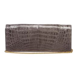 MCM Charcoal Gray Crocodile Clutch Shoulder Bag
