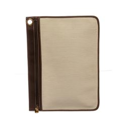 Salvatore Ferragamo Beige Textured Canvas Brown Leather Trim Document Holder