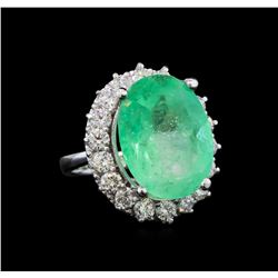 GIA Cert 16.24 ctw Emerald and Diamond Ring - 14KT White Gold