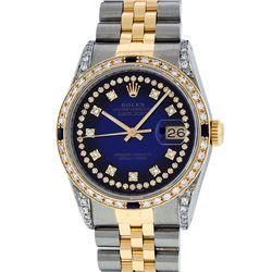 Rolex Two-Tone 1.65 ctw Diamond and Sapphire DateJust Men's Watch
