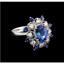 14KT White Gold 3.09 ctw Tanzanite and Diamond Ring