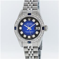 Rolex Stainless Steel Blue Vignette Diamond and Sapphire DateJust Ladies Watch