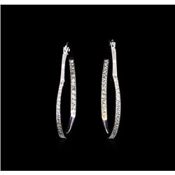 1.50 ctw Heart Shape Hoop Earrings - 14KT White Gold