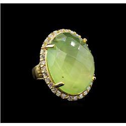 14KT Yellow Gold 32.12 ctw Green Tourmaline and Diamond Ring