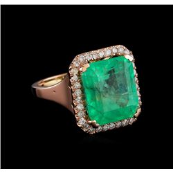 11.44 ctw Emerald and Diamond Ring - 14KT Rose Gold