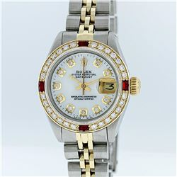 Rolex Two-Tone Mother Of Pearl Diamond and Ruby DateJust Ladies Watch