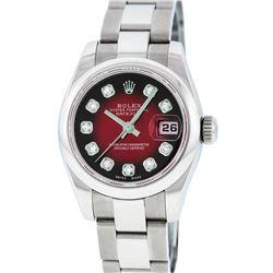 Rolex Stainless Steel Diamond Oyster Band Quickset DateJust Ladies Watch