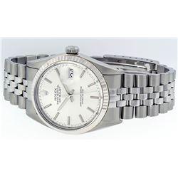 Rolex Mens Stainless Steel Silver Index DateJust Men's Wristwatch