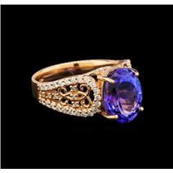 14KT Rose Gold 3.82 ctw Tanzanite and Diamond Ring