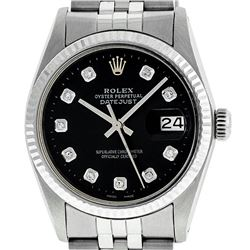 Rolex Mens 36mm Stainless Steel Black Diamond Datejust Wristwatch