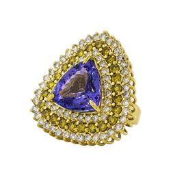 17.94 ctw Tanzanite and Diamond Ring - 14KT Yellow Gold
