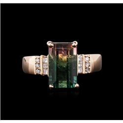 4.49 ctw Bi-Color Tourmaline and Diamond Ring - 14KT Rose Gold
