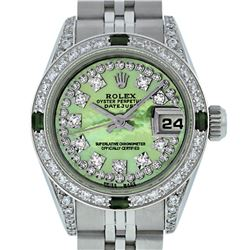 Rolex Ladies SS Diamond Lugs Green MOP VS Diamond and Emerald Datejust Wristwatc