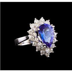 14KT White Gold 3.65 ctw Tanzanite and Diamond Ring