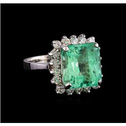 7.80 ctw Emerald and Diamond Ring - 14KT White Gold