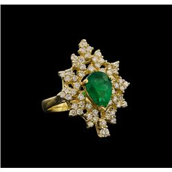 14KT Yellow Gold 1.82 ctw Emerald and Diamond Ring