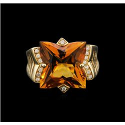 7.20 ctw Citrine and Diamond Ring - 14KT Yellow Gold