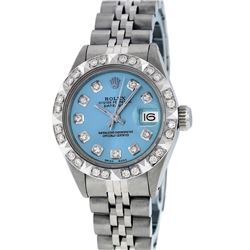 Rolex Ladies SS Blue Diamond Pyramid Bezel Datejust Wristwatch