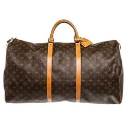 Louis Vuitton Monogram Canvas Leather Keepall 60 cm Duffle Bag Luggage