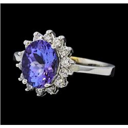 2.42 ctw Tanzanite and Diamond Ring - 14KT White Gold