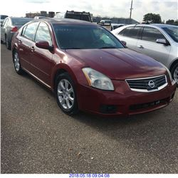 2008 - NISSAN MAXIMA // REBUILT SALVAGE // TEXAS REGISTRATION
