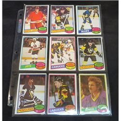 1980-81 OPC Hockey Lot Of 9 Cards