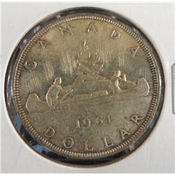 1961 Canadian Silver $1 Dollar Coin