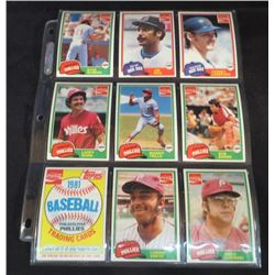 1981 Coke Baseball Lot Of 9 Cards