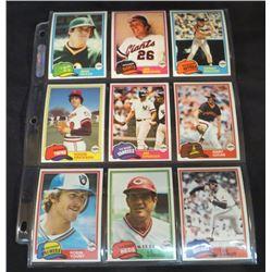 1981 Topps Baseball Lot Of 9 Cards