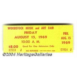 Woodstock Music Memorabilia Ticket Globe Tic
