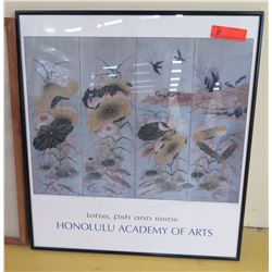 Framed Art: Honolulu Academy of Arts - Lotus, Fish and Birds, 24.5 X 26.5